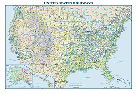 Usa Highway Map Amazon.: USA Interstate Highways Wall Map   22.5
