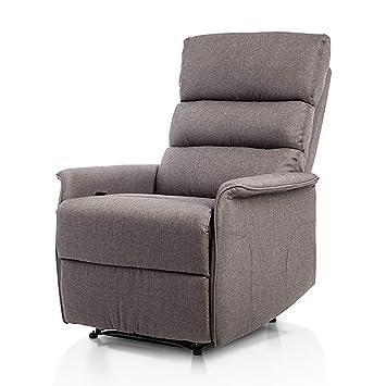 """SuenosZzz - Confort MAX Sillón tapizado, Sillon Relax con reclinación, Palanca de Sistema """"Pull up"""" Relleno Color Gris."""