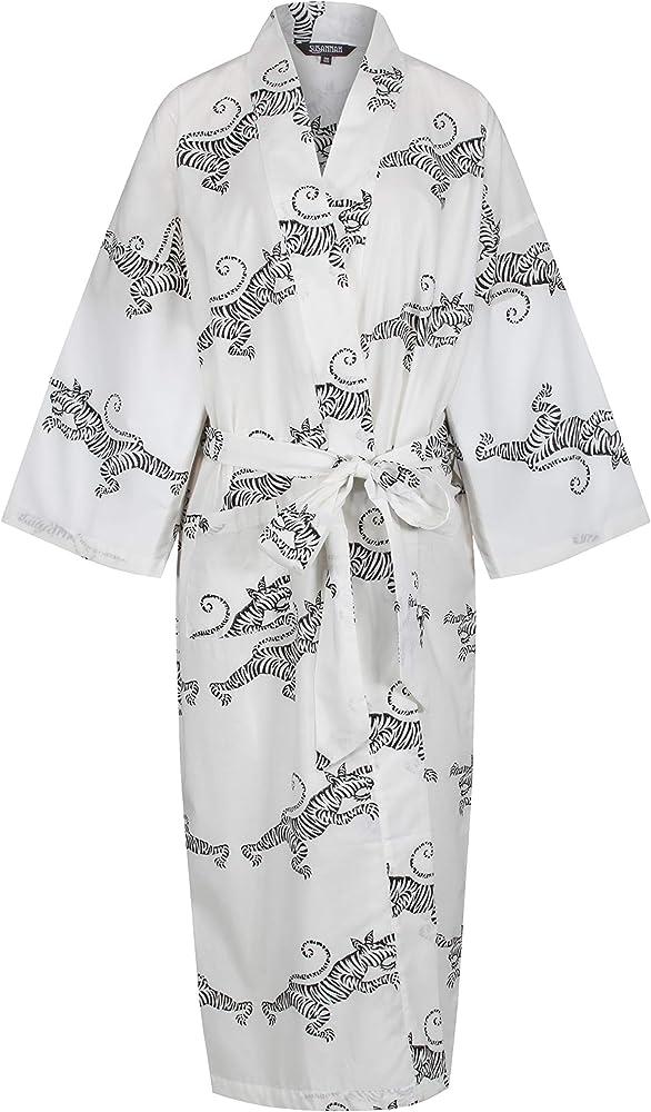 Susannah Kimono de algodón Bata Yukata - Albornoz Ligero Estampado a Mano para Mujer - Blanco -: Amazon.es: Ropa y accesorios