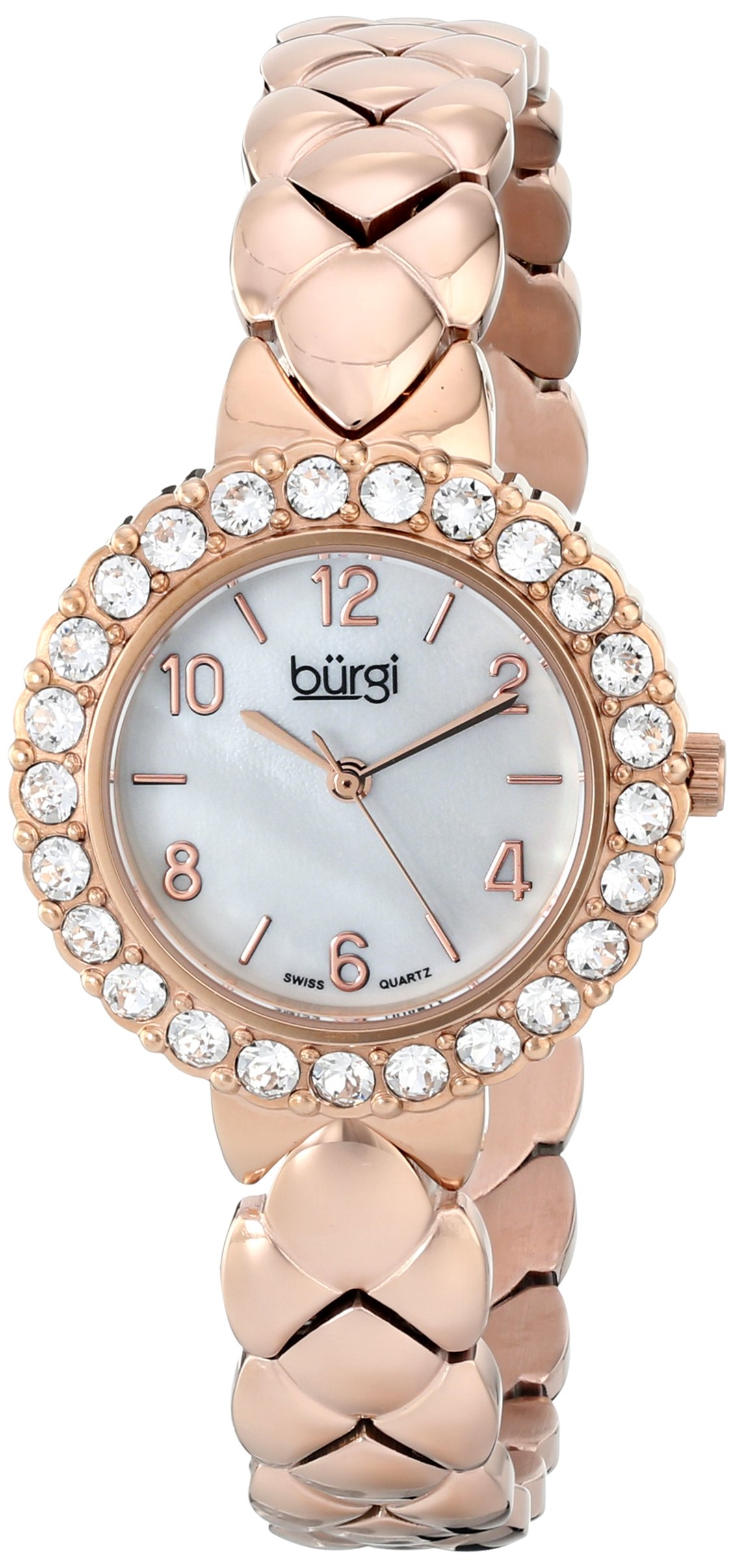 Burgi Women's BUR113RG Crystal Accented Rose Gold Swiss Quartz Watch with White Mother of Pearl Dial and Rose Gold Bracelet