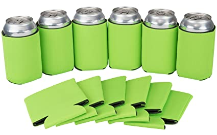 12 Can Sleeves – Neon Green Beer Coolies for Cans and Bottles - Bulk Blank  Drink Coolers – DIY Custom Wedding Favor, Funny Party Gift (Neon Green, 12)
