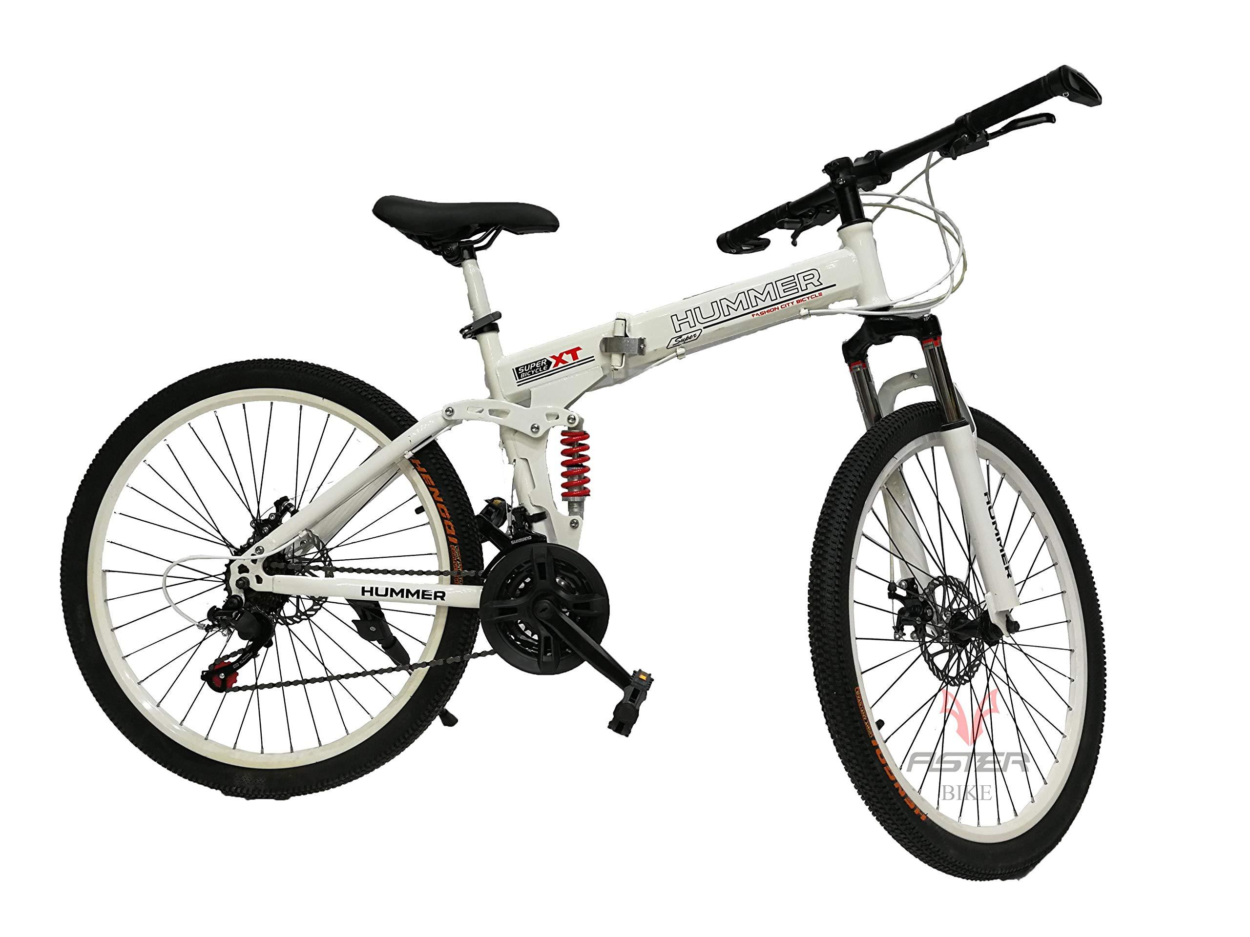 Hummer mountain bike double shock folding bicycle. white ...   hummer folding bikes