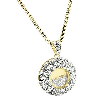 Floating stones design medallion pendant 14k gold over sterling floating stones design medallion pendant 14k gold over sterling silver chain iced out aloadofball Choice Image