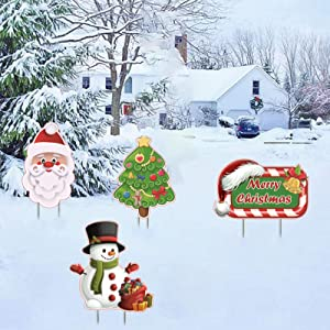 ALINILA Christmas Decorations Outdoor Joy Yard Sign Stakes,Snowman, Santa Claus, Xmas Tree, Signpost Garden Pile Signs,for Lawn Courtyard Terraces