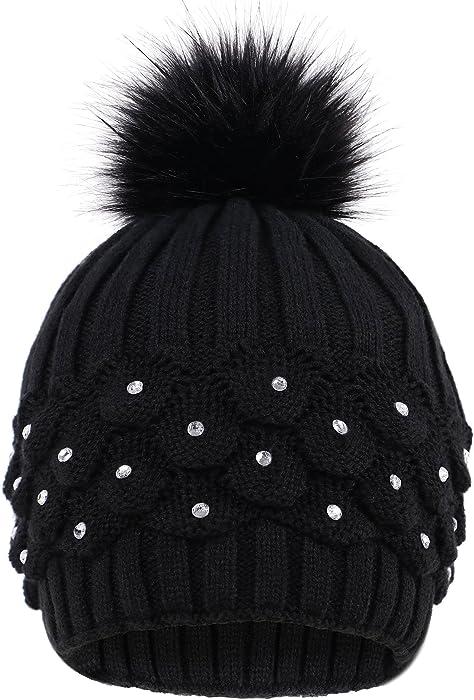 a47c2a8c7e2 Livingston Faux Fur Winter Cable Knit Pom Pom Beanie for Women w Sequins