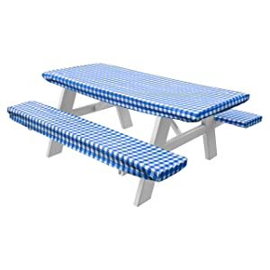 Home Crate Checkered Picnic Table and Bench Fitted Tablecloth Cover, 3-Piece, Blue