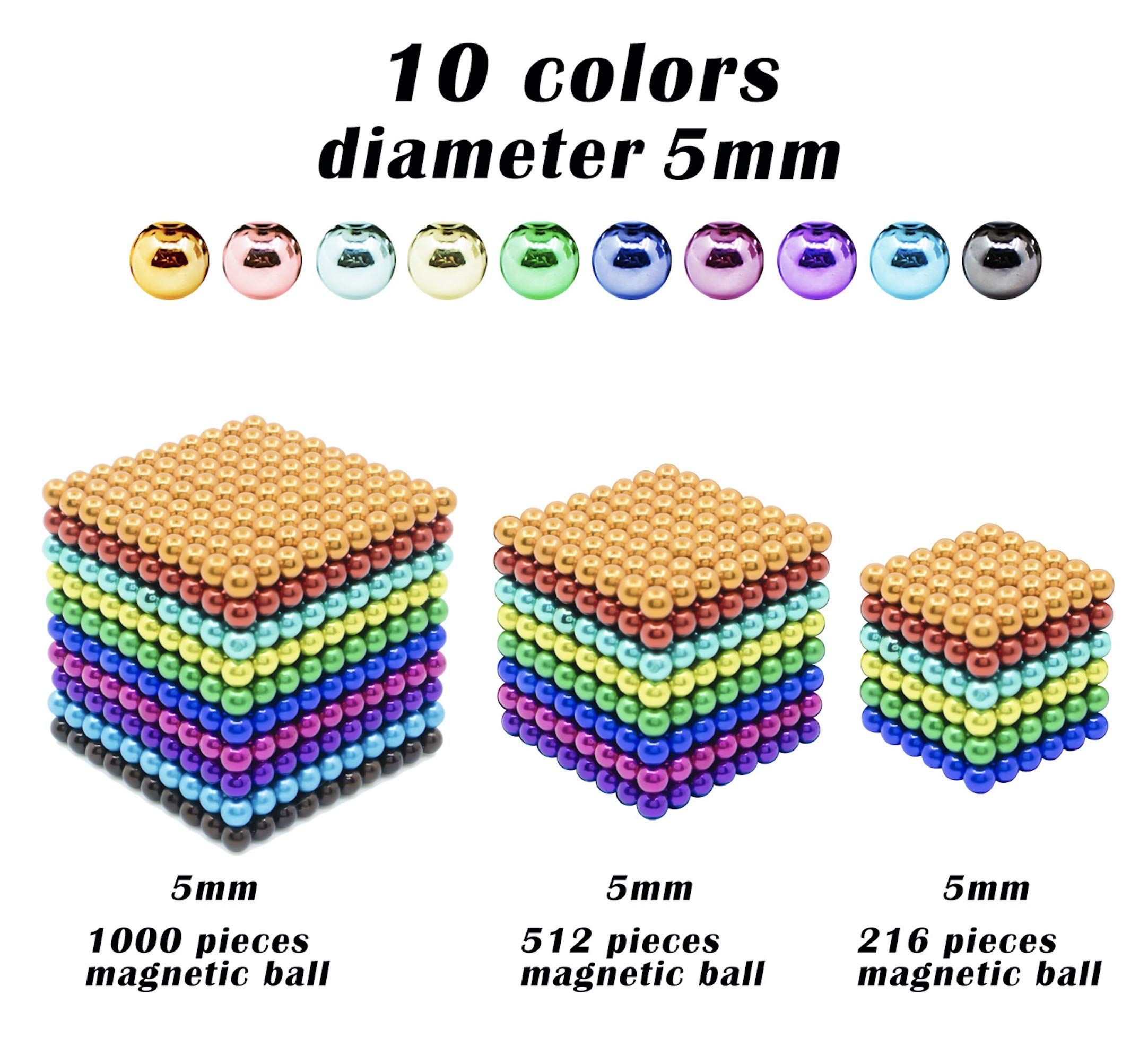 sunsoy 1000 Pieces 5mm Sculpture Building Blocks Toys for Intelligence Learning -Office Toy & Stress Relief for Adults Colorful by sunsoy (Image #1)