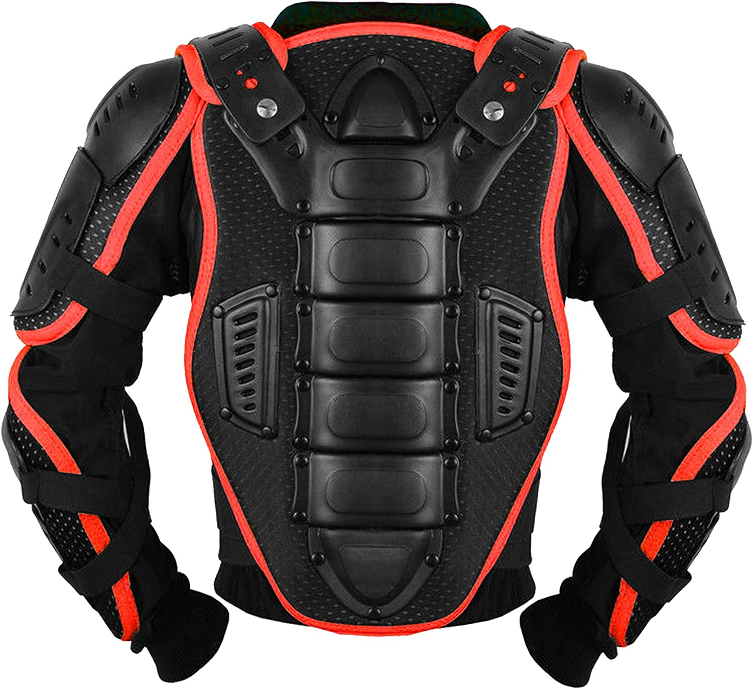 Red, 4 Kids Childrens Body Armour with Knee Protector CE Approved Motocross Motorbike Motorcyle Protection Jacket Motorcycle Body Guard