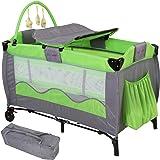 Infantastic Kinderreisebett Babyreisebett mit Babyeinlage, inkl. Matratze + Zubehör, grün