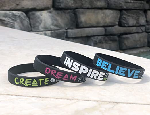 Motivational Silicone Wristbands Dream Chasing Inspirational Adult