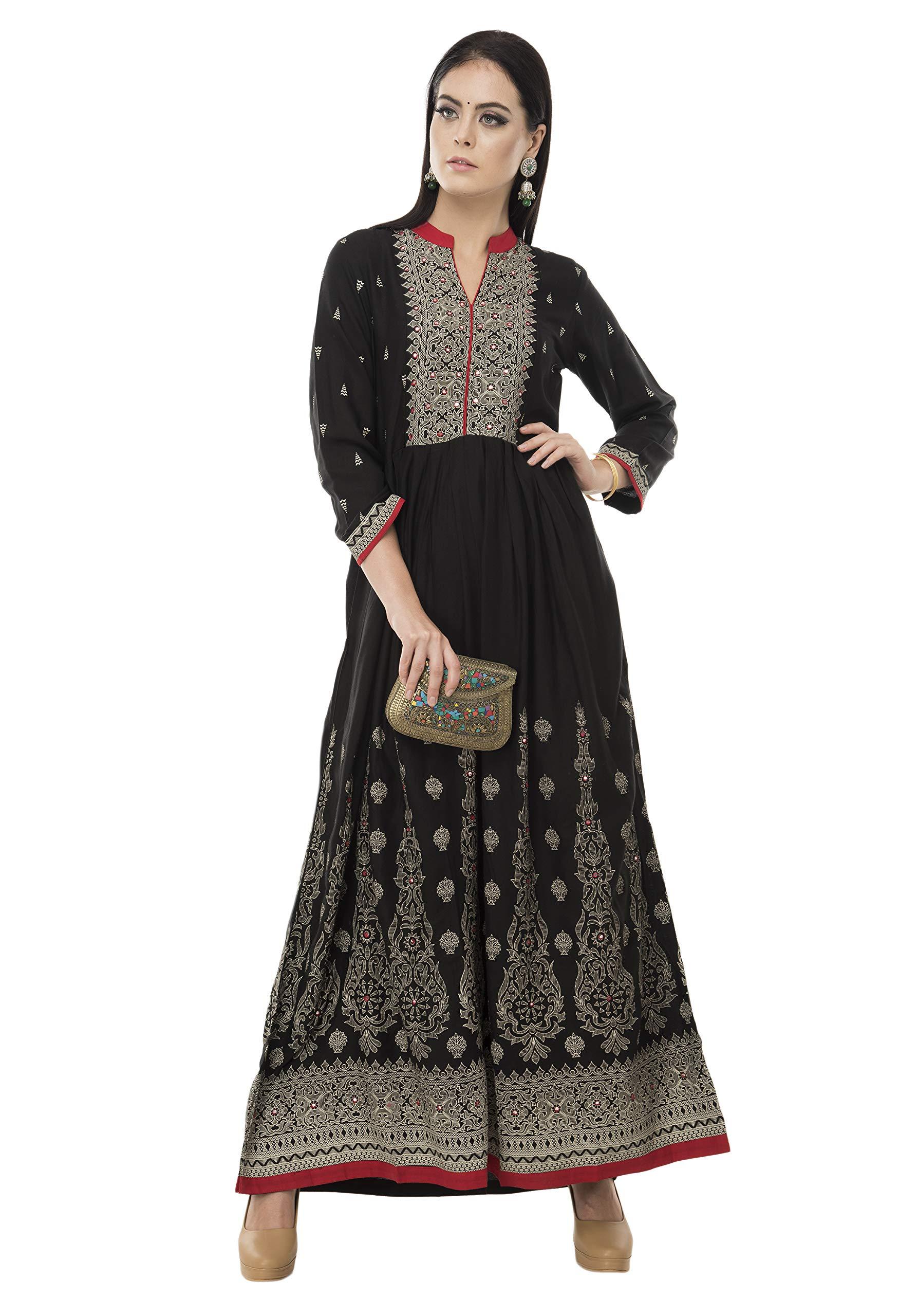 SABHYATA Womens Kurta Indian Kurtis Women Rayon Casual Tunic Top Long Dress Medium Black