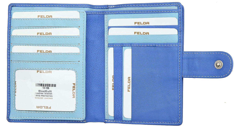 Blau Multi aus Echtleder Felda Damen Geldb/örse mit 23 Kartenf/ächern /& M/ünzfach gro/ß RFID-Blocker