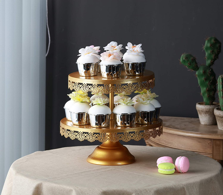 Gold VILAVITA 2-tier Round Cupcake Stand Dessert Tower Iron Cupcake Holder Display Stand for Wedding Birthday Party Celebration
