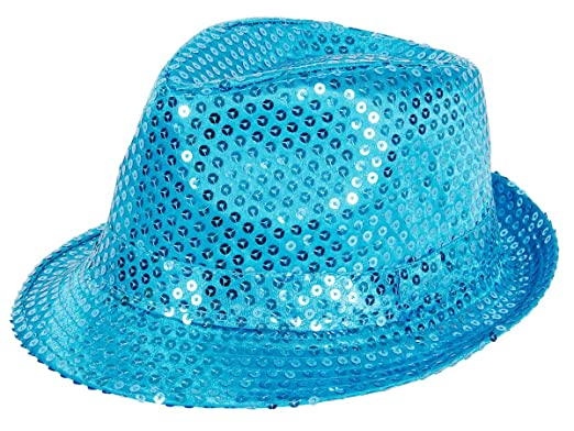 8811f425acb Blue Sequin Sparkling Glitter Trilby Fedora Bogart Hat for Entertainment  Theme Party Carnival Stage Show Unisex Adults  Amazon.co.uk  Clothing