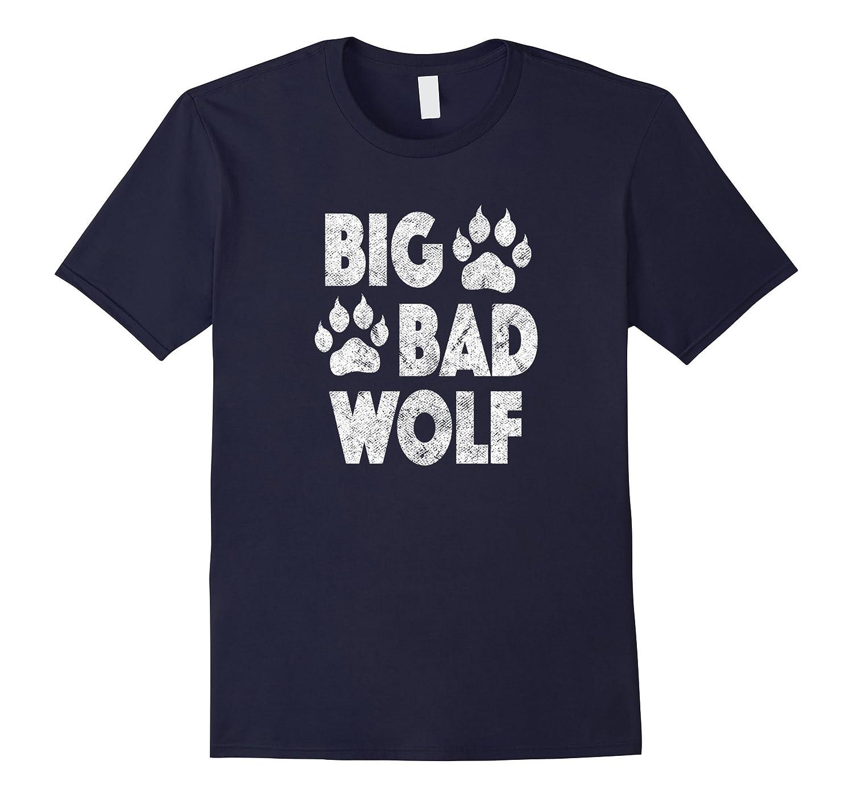 Big Bad Wolf Halloween Costume Paw Print T Shirt-T-Shirt