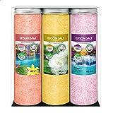 Nortembio Sales de Epsom Pack 3 x 430 g. Fragancias de Canela, Jazmín, Rosas. Hidratadas con Vitamina C y E. Sales de…