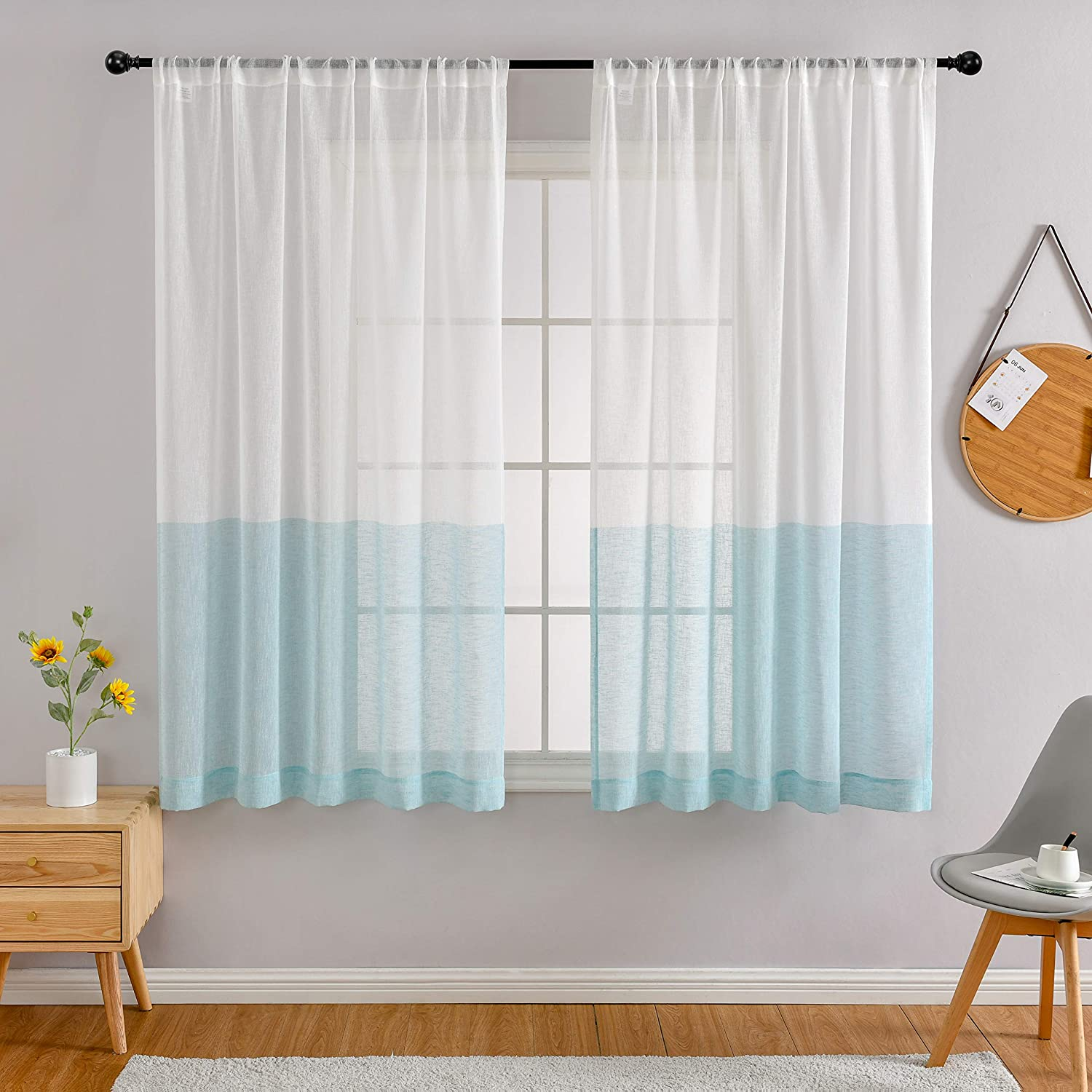 MYSKY HOME Sheer Curtains 72 Inches Length, Linen Look Aque Blue and White Color Block Stripe Curtain Panels Rod Pocket Window Drape for Living Room Bedroom Farmhouse
