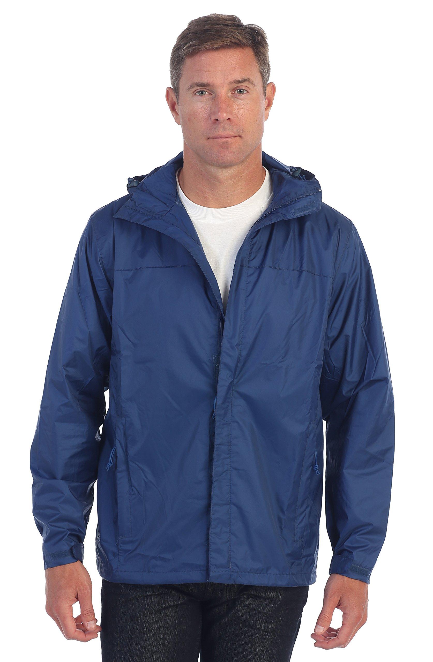Gioberti Men's Waterproof Rain Jacket, Navy, XL