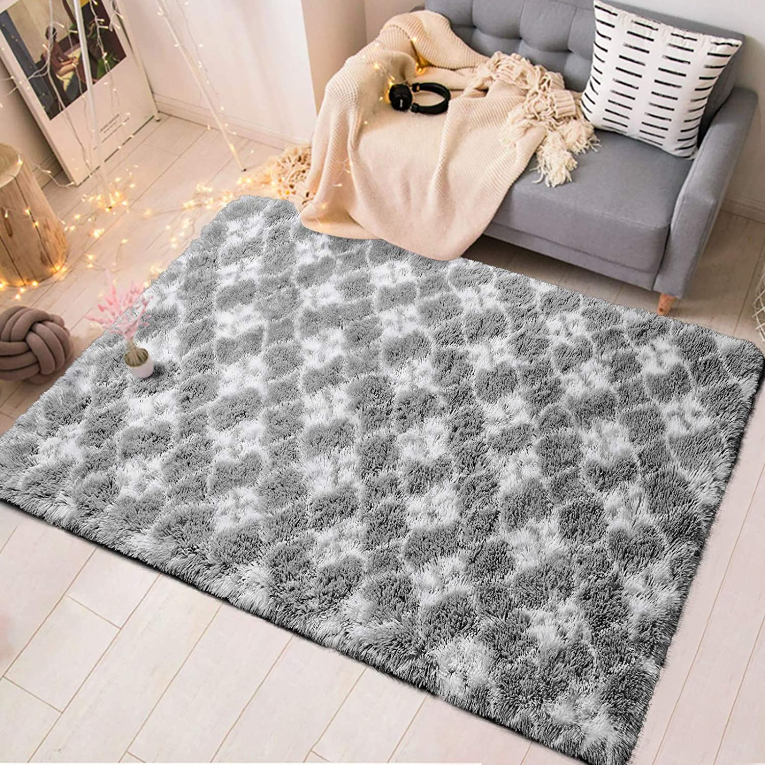 Zareas Soft Fluffy Area Rugs for Living Room 4x6 White Grey Shag Rug for Bedroom Fuzzy Furry Carpet for Kids Girls Boys Long Fur Indoor Dorm Nursery Floor Comfy Accent Home Decor Modern Abstract Mat