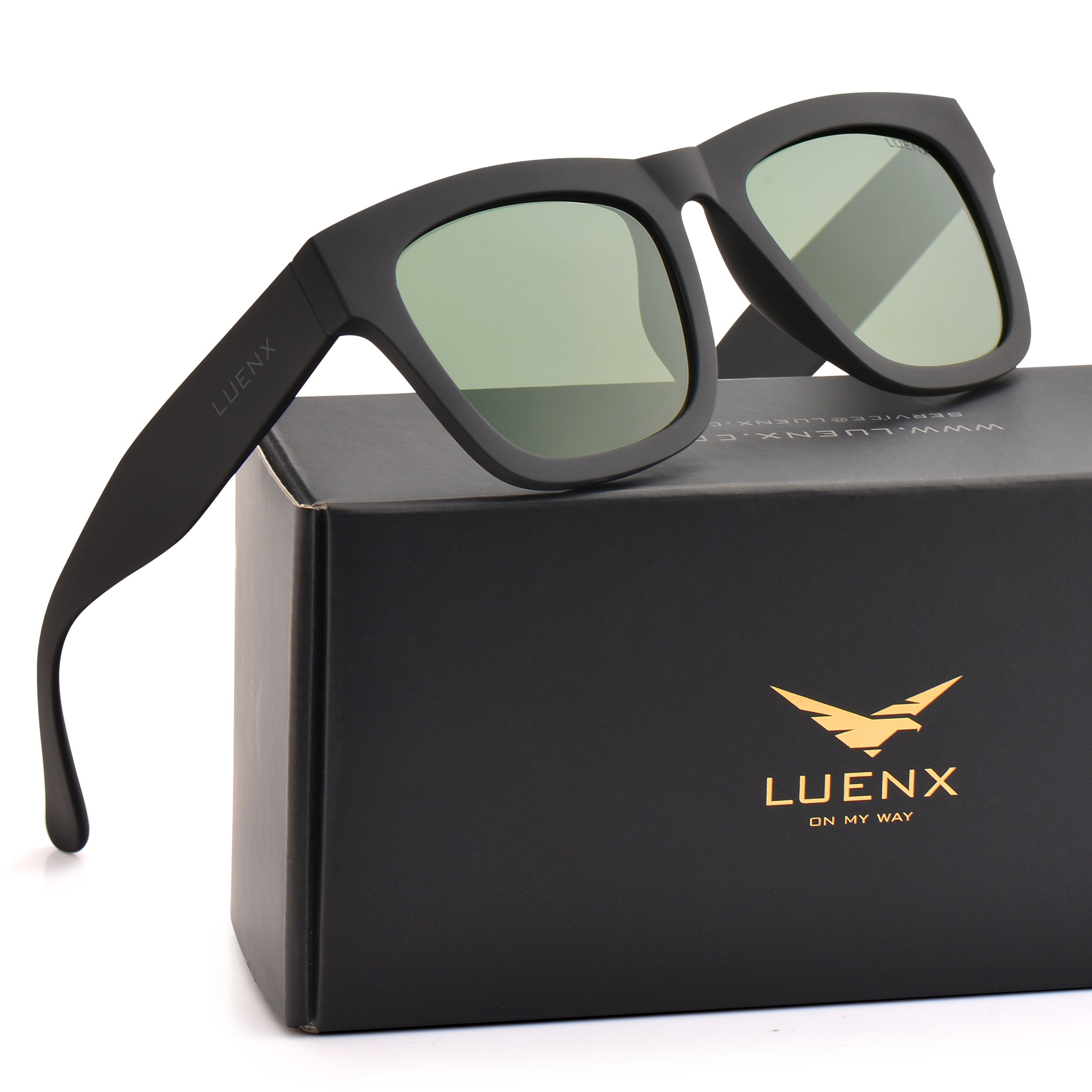 Mens Wayfarer Polarized Sunglasses for Womens UV 400 Protection Grey Green Lens Matte Black Frame 58MM,by LUENX with Case