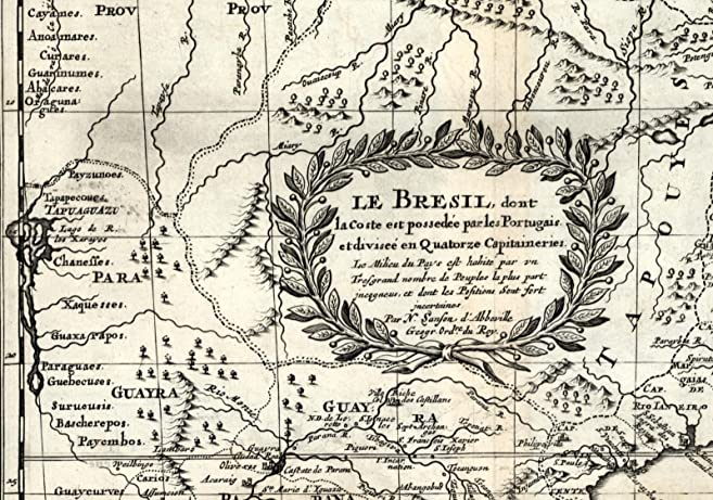 Brazil Suriname Guyana Amazon Portuguese unknown natives 1699 Sanson rare map