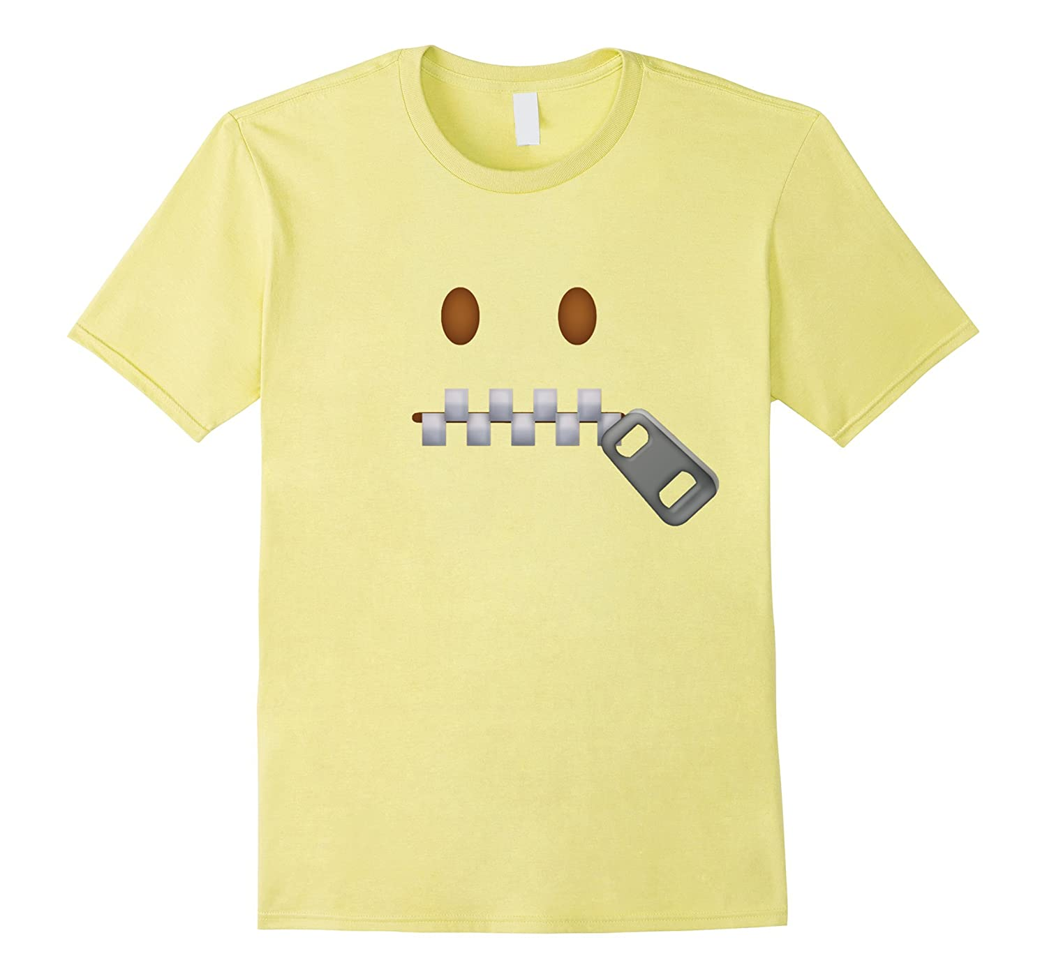Zipper-Mouth Face Emoji Costume T-Shirt for Halloween-FL