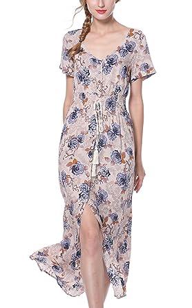 1465187110 ARANEE Women s Button Up Split Floral Print Long Maxi Boho Bohemian Dress  (S