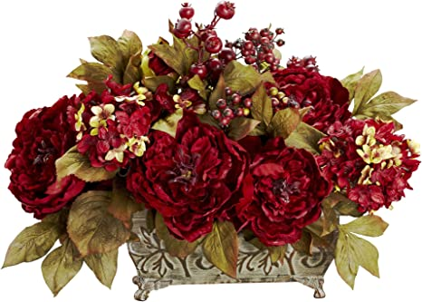 Amazon Com Nearly Natural 4929 18in Peony Hydrangea Silk Flower Arrangement Red 13 75 X 12 X 9 5 Home Kitchen