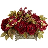 Amazon nearly natural 1320 mixed floral arrangement with white nearly natural 4929 peony and hydrangea silk flower arrangement red mightylinksfo