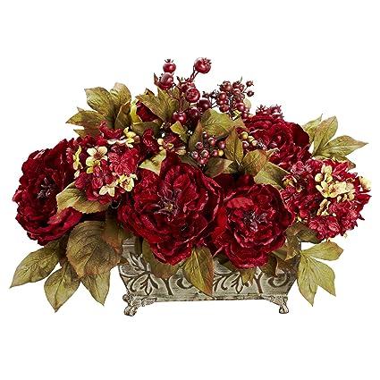 Amazon nearly natural 4929 peony and hydrangea silk flower nearly natural 4929 peony and hydrangea silk flower arrangement red mightylinksfo Gallery