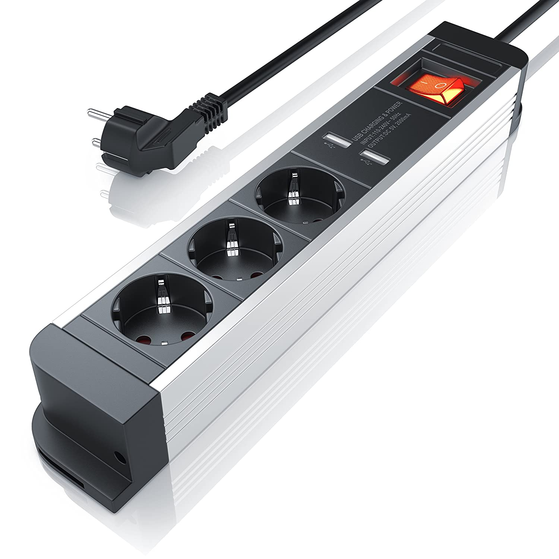 Regleta de enchufe triple con cargador USB 2x puerto - hasta ...