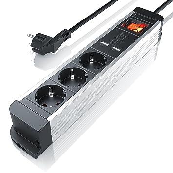 Arendo Regleta de enchufes triple con cargador USB (2x ...