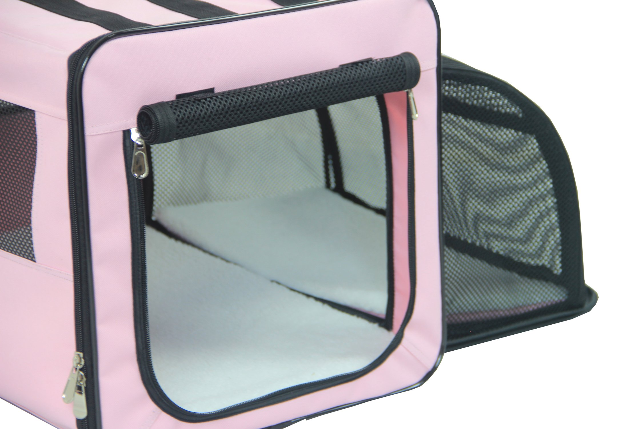 Pet Life Capacious' Dual-Sided Expandable Spacious Wire Folding Collapsible Lightweight Pet Dog Crate Carrier House, Large, Pink by Pet Life (Image #5)