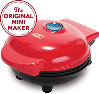Dash Mini Maker: The Mini Waffle Maker Machine for Individual Waffles, Paninis, Hash browns, & other on the go Breakfast, Lunch, or Snacks - Red