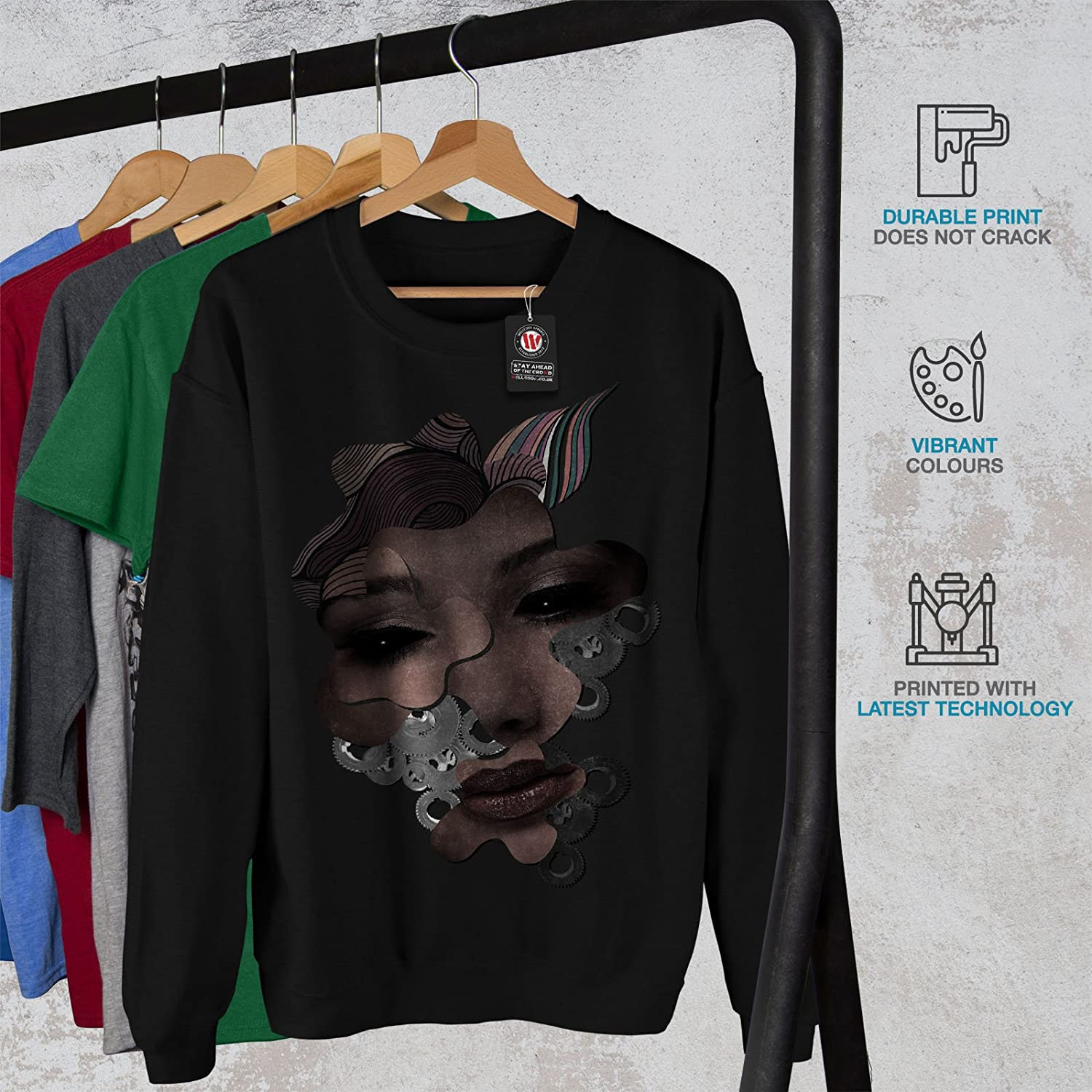 Crazy Casual Jumper wellcoda Android Face Cool Mens Sweatshirt