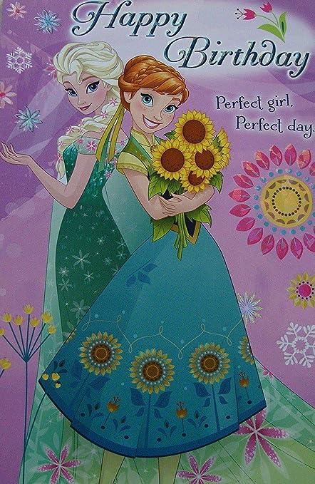 La Reine Des Neiges Joyeux Anniversaire Carte Trois Plis 481733 Amazon Fr Fournitures De Bureau
