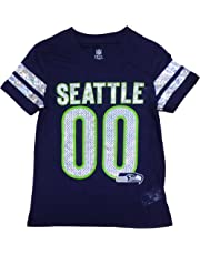 Seattle Seahawks Navy Girls Youth 00 Dazzle Burnout V Neck T Shirt 2448e1374