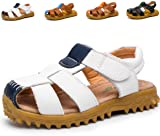 Giotto Closed Toe Leather Kids Summer Outdoor Sport Beach Sandals(Toddler/Little Kid) B-White-34/1.5 M US Little Kid