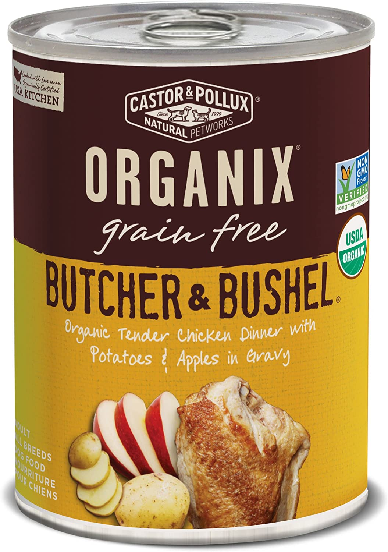 Castor & Pollux Organix Grain Free Butcher & Bushel Organic Tender Chicken Dinner in Gravy Adult Canned Dog Food, (12) 12..7oz cans