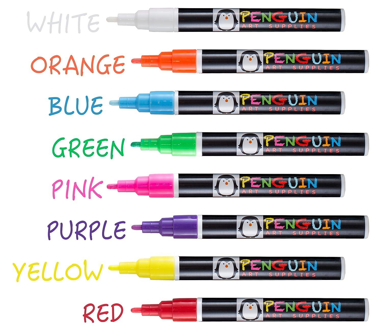 Professional Artist 3MM Fine Tip Chalk Marker Pens  Set of 8 Color Wet Erase Markers  BONUS 24 Chalk