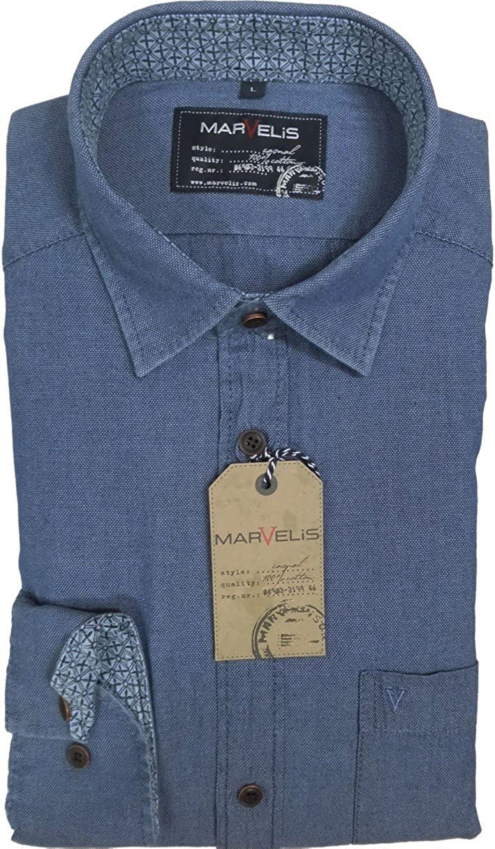 marvelis vaquero Camisa Camisa Casual manga larga Azul – 4611.64.96 azul 47/48: Amazon.es: Ropa y accesorios