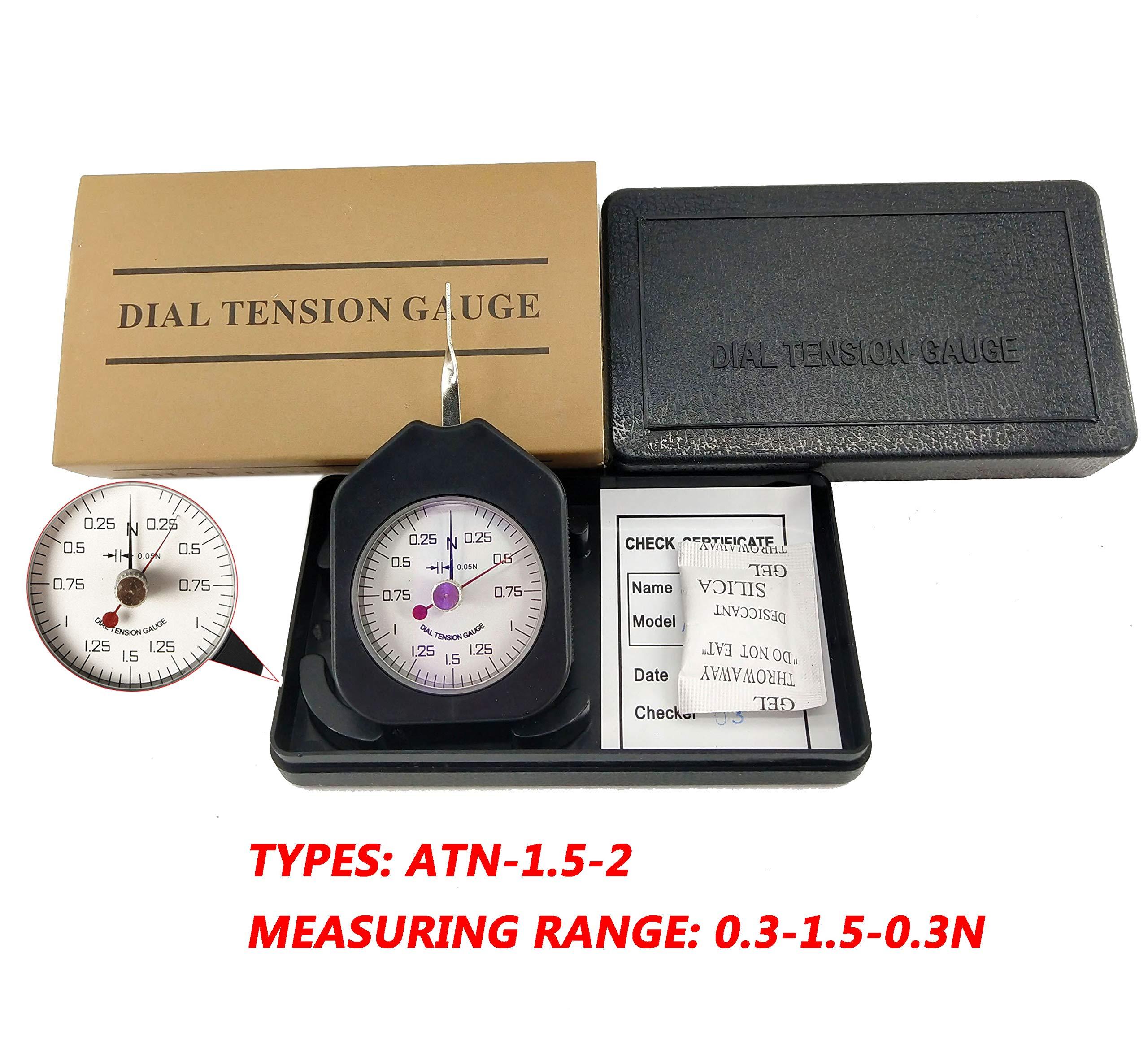 HFBTE ATN-1.5-2 Pocket Size Double Pointer Tension Gauge Tensionmeter with 0.3-1.5-0.3N Measurement Range 0.05N Division Value by HFBTE
