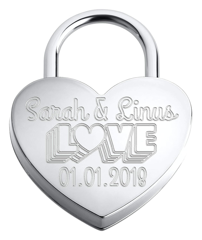 Liebesschloss ♥ Herzschloss Silber mit individueller Gravur - 1 Schlüssel - inkl. Samtsäckchen (Silber   Gravur Vorderseite) MeinLiebesschloss.de
