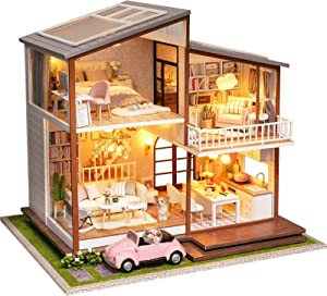 Spilay DIY Miniature Dollhouse Wooden Furniture Kit,Handmade Mini Modern Large Villa Model with LED Light&Music Box ,1:24 Scale Creative Doll House Toys for Children Gift(Slow Time)
