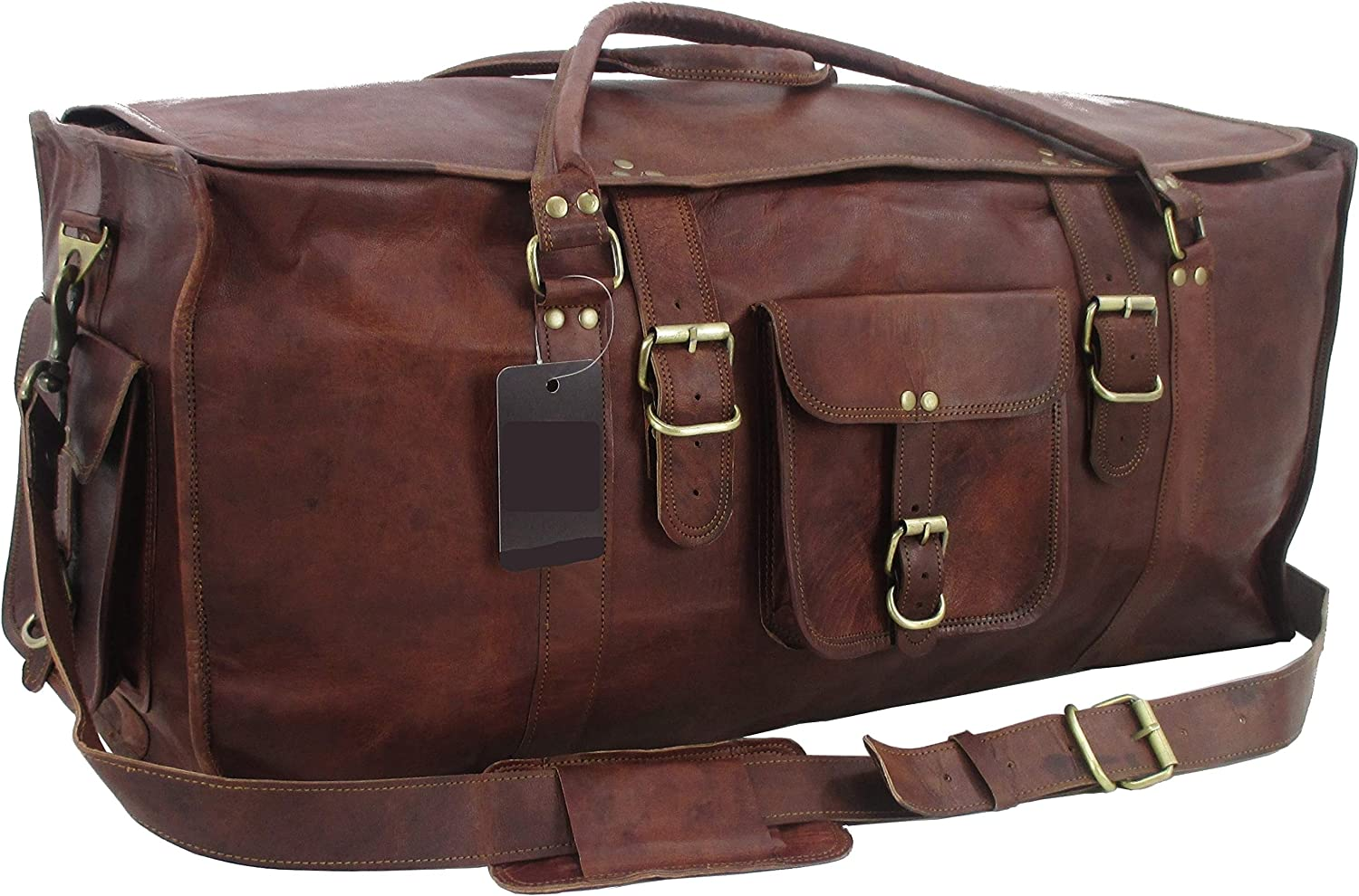 Yuge Bear 28 FS1 Vintage Style Genuine Leather Oversized Flap Duffel Travel Bag