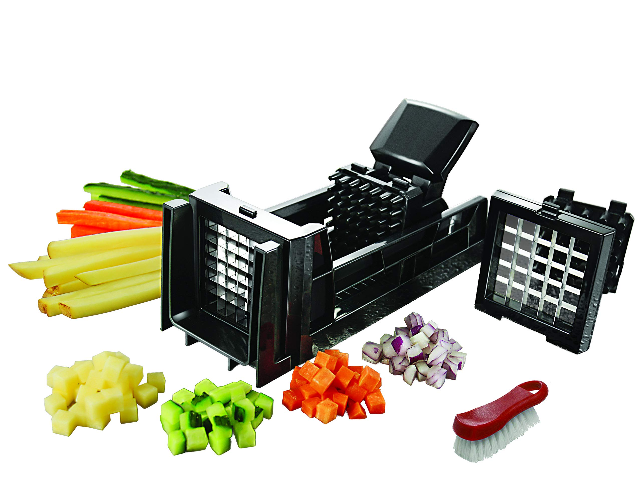 Tiger Chef French Fry Cutter and Easy Vegetable Dicer Chopper With 2 Interchangeable Blades - Also Great for Onions, Carrots, Cucumbers and more - Comes with a Cleaning Brush by Tiger Chef