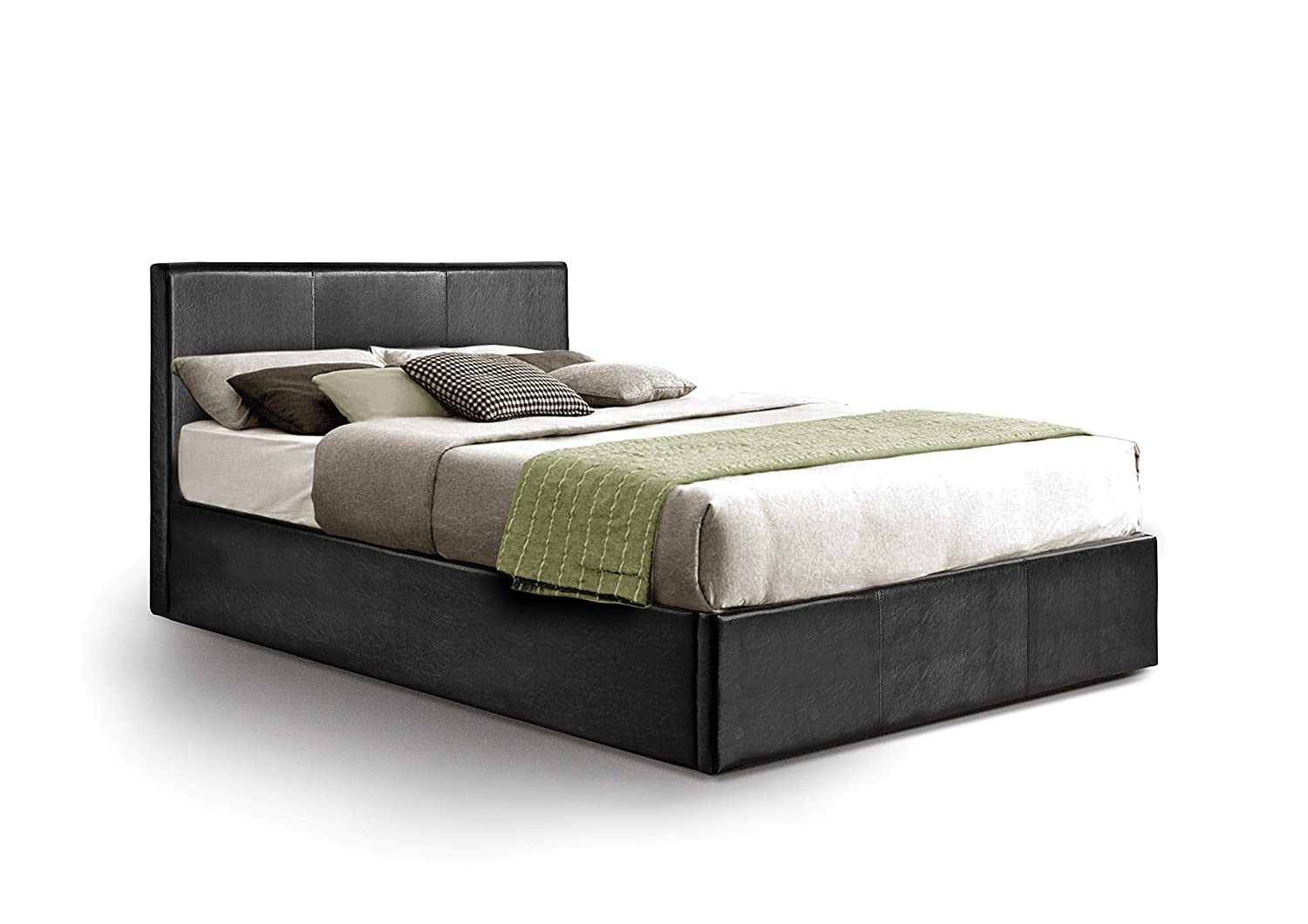 Ottoman Small Double Storage Bed Upholstered in Faux Leather, 4ft, Black Otto-Garrison bg-lu-ot