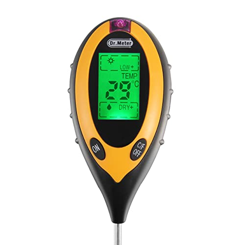 Dr.meter S20 Moisture Sensor Meter, Soil Water Monitor, Hydrometer for Gardening, Farming, Indoor/Outdoor Use (4-in-1 Advanced Version)