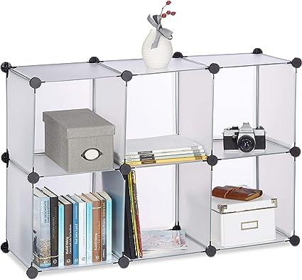 Relaxdays Estantería Modular Pequeña con 6 Compartimentos, 32x96x156 cm