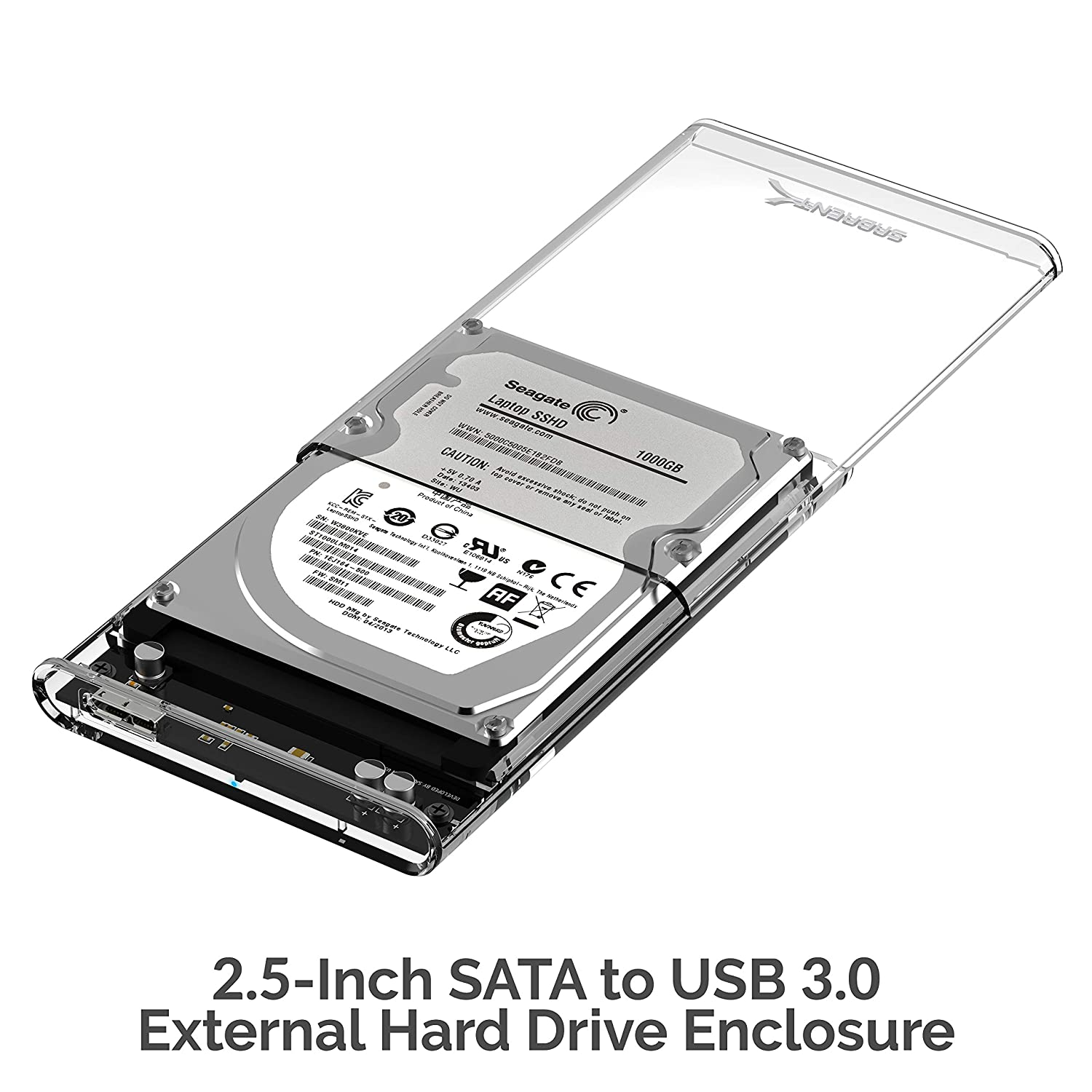 Sabrent 2.5-Inch SATA to USB 3.0 Tool-Free Clear External Hard Drive Enclosure [Optimized for SSD, Support UASP SATA III] (EC-OCUB).